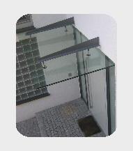 Glasvordach in Edelstahl- Massivglashalterung, VSG-/TVG- Glas, in 22 mm Stärke! Antischmutzbeschichtet (Lotuseffekt)