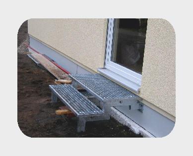 Gartentreppchen Stahl, feuerverzinkt mit Gitterroststufen